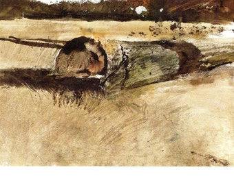 This Bookplate from Andrew Wyeth is titled Study for Ground Hog Day for the book Wyeth at Kuerners