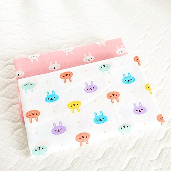 Bunny cotton fabric small rabbit animal fabric children for Children s home decor fabric