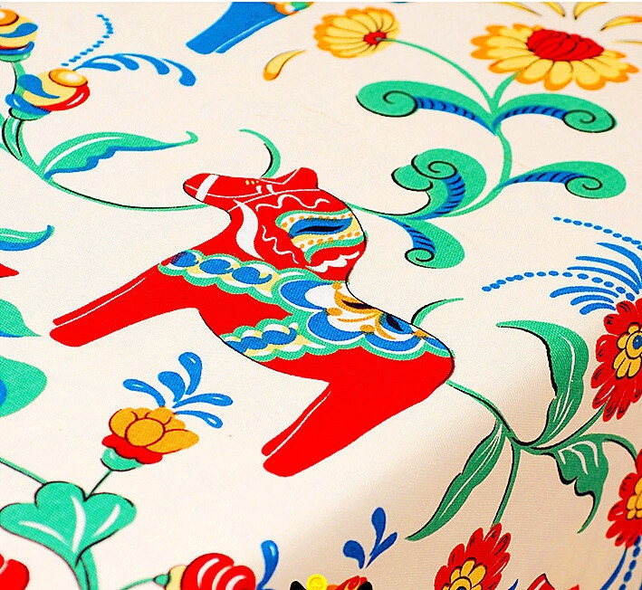 Kids fabric cotton linen fabric colorful retro horse with for Kids horse fabric