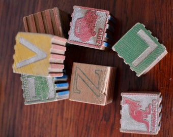 Retro Wooden Alphabet Bricks 1950s