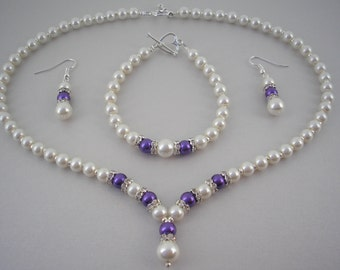 Catherine ~ Ivory and Cadburys Purple Pearl with Crystal Diamante spacers Necklace Bracelet & Earrings Jewellery Set (2dr)