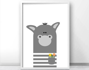 Instant Download Nursery Print, Donkey Nursery Art, Printable Kids Wall Art, Animal Nursery Printables, Kids Art, Animal Print, Digital Art