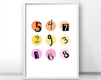 Kids wall art print,  Nursery numbers art, Kids room decor,  Numbers print, Nursery art, Childrens art,  Kids printable , Kids numbers print