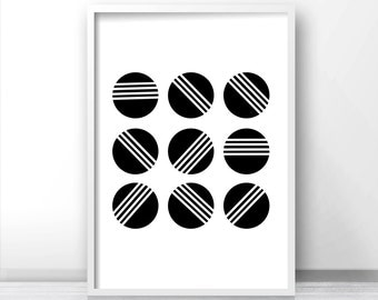 Instant Download Printable Art, Abstract Print, Black And White Wall Art Printable, Modern Abstract Art Print, Download Print, Geometric Art
