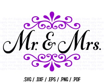 Wedding Clipart, Newly Weds Wall Art, Love SVG File for Vinyl Cutters, Screen Printing, Silhouette, Die Cut Machines - CA232
