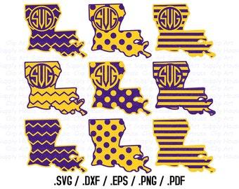 Louisiana, State Outline, State Decor, Tigers, SVG Files, DXF Files, Vector Art, Cricut Design Space, Silhouette Studio, Cut Files - CA203