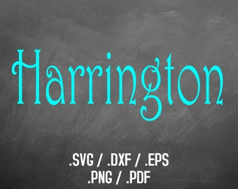 Harrington Font Design Files For Use With Your Silhouette Studio Software, DXF Files, SVG Font, EPS Files, Svg Fonts, Curly Silhouette