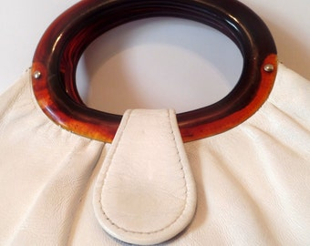 White Vinyl Vintage Handbag 1960s