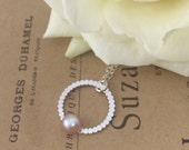 Sterling Silver Beaded Circle Necklace with Pink Freshwater Pearl | Bridesmaid Gift Idea