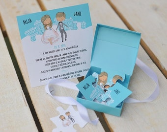 Wedding invitation Puzzle in a box - SET OF 10!