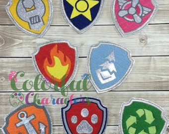 Paw Patrol Badges, embroidered vinyl badges, made to order, party favors, costume accessories, costume party, Halloween costumes, pretend