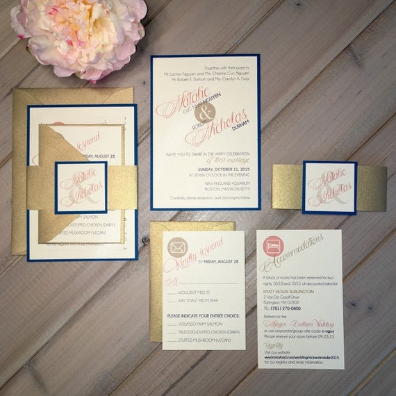 Unavailable listing on etsy for Royal blue and coral wedding invitations
