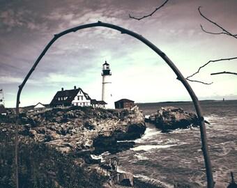 Lighthouse - landscape, Cape Elizabeth, Portland Maine, Portland Head Light, ocean, rocks, branch, sky, metallic photo