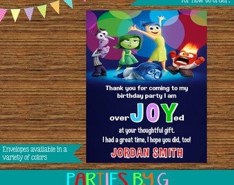 Inside Out Birthday Thank You Notes Note Cards Personalized Custom