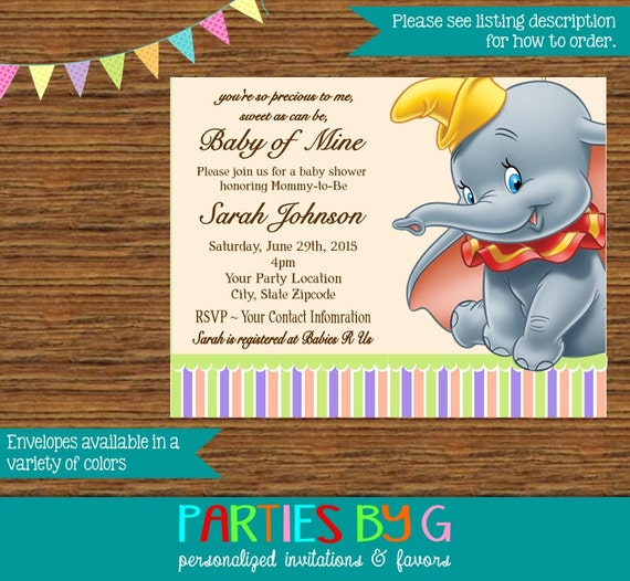 dumbo baby shower or birthday party invitations invites personalized