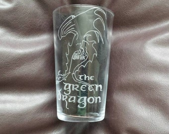 Hand etched pint glass inspired by the Lord of the Rings