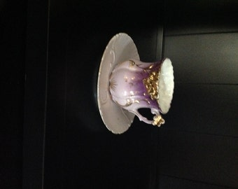 Purple Lustreware Cup and Saucer