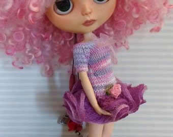 Salt-Blythe dress pink and lilac with ruffle and flower