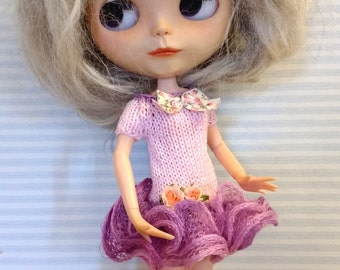 Blythe dress up pink and lilac romantic with bow and flowers