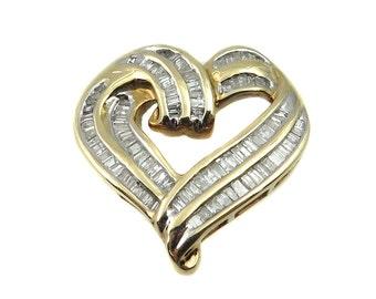 10K Yellow Gold Perfectly Shaped Diamond Heart Pendant With Bagguette Diamonds