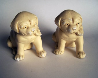Coventry Ware Plaster Dogs - Vintage Pair of Puppies - 1930s Plaster Puppy Figurines
