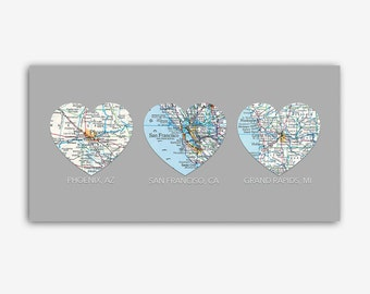 Romantic gift idea, Hearts with 3 CUSTOM Maps- Personalized Gift, 3 cities, UNframed print, honeymoon, family gift, bridal, wedding gift