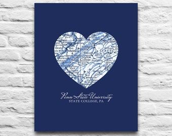 Penn State Nittany Lions State Collage Pennsylvania Vintage Heart Art Print DIGITAL DOWNLOAD diy printable, 8x10 11x14
