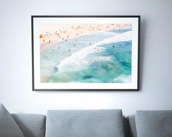 Large Bondi Beach Poster Print // Aerial Beach Photography // Turquoise Print // Large Beach Prints // Beach People