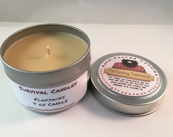 Flapjacks Candle - Pancakes with Maple Syrup Candle - Soy Wax/Paraffin - Tin Candle - Survival Candle - Burly Candle - 4 oz Candle