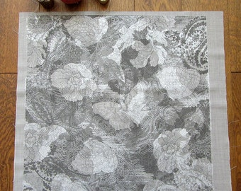 Silver Butterfly Printed Fabric with paisley and flower shapes