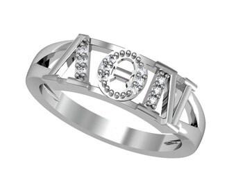 Lambda Theta Nu Ring - Vertical Design, Sterling Silver (LTN-R001)