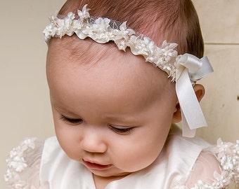 Ivory Flower Headband 'Leila', Ivory Beaded Infant Headband