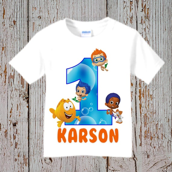 Personalised Boys First Birthday Card Bubbles By August: Bubble Guppies Birthday Shirt Bubble Guppies Shirt