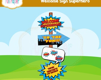Welcome Sign Superhero-Costume-printable-Party Birthday-Party Supplies-Superhero Invite-Superheroes Sign-Welcome Sign Birthday Party