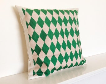 Green Geometric/Scandinavian/Modern Argyle Pattern Cotton Linen Cushion Cover 18 x 18""