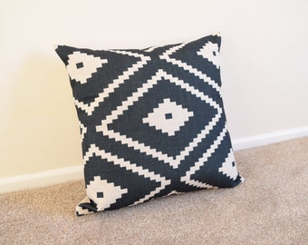 Black Kilim/Aztec/Tribal Cotton Line Cushion/Pillow Cover in 18 x 18""