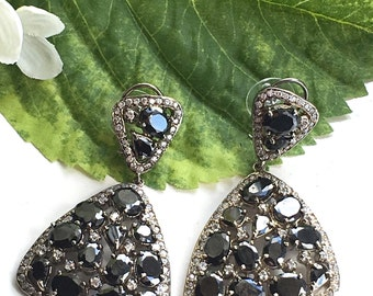 Beautiful Asymmetrical Black and Silver Crystal Chandelier Earrings