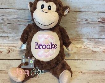 Personalized Stuffed Animal Monkey, Monogrammed, Baby cubbie, Baby Shower Gift, Appliqué