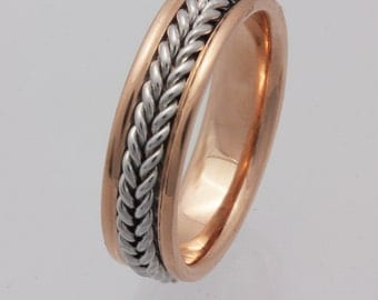 Two Tone 14K Solid Rose Gold & White Gold Hand Braided Comfort Fit Wedding Band, Hand Braided, Gold Rings, Unisex Ring