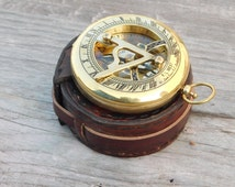 3 inch sundial antique compass, pocket compass, steampunk gift, nautical decor, personalized gifts