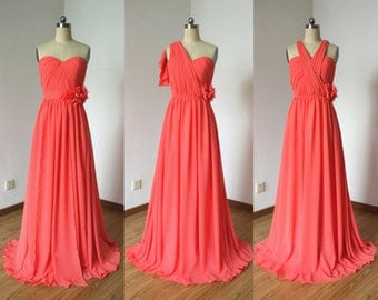 Convertible Coral Chiffon Long Bridesmaid Dress