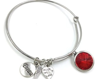 Expandable Wire Bangle Birthstone July Ruby Red Glass Silver Plated Bracelet