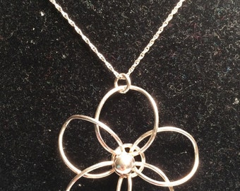 925 flower sterling silver necklace