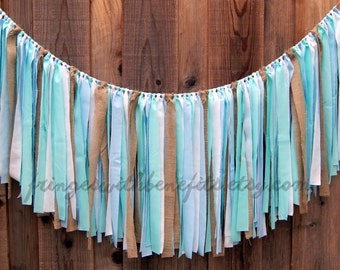 Blue White Burlap Boy Shabby Chic Rag Tie FABRIC GARLAND, Fabric Banner, Wedding Garland, Baby Shower, Nursery, First Birthday, Boho