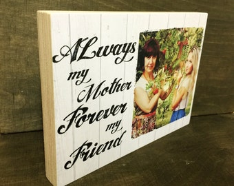 """Personalised Plaque 7x5"""" with Photo Mother quote Mother's day gift on wood"""