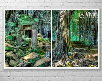 Angkor Wat photo, set of 2 framed prints, Cambodian temples, Ta Prohmm, ancient wall decor, ancient ruins, Cambodia temple architecture
