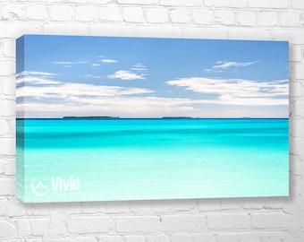 Tropical ocean, canvas wall art, tropical water, calm blue water, ocean canvas art, crystal blue water, south pacific island, ouvea, new cal