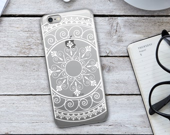 White Tribal Mandala  iPhone Case - White Tribal Mandala Phone Case - Tribal Phone Case - Mandala iPhone Case - iPhone Case -