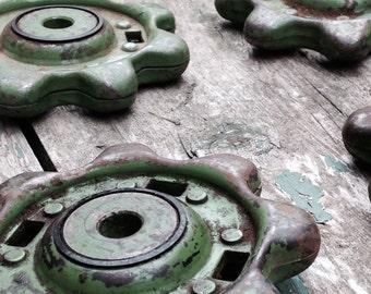 Industrial farm gears, vintage machine gears, industrial decor, vintage metal, chain sprockets