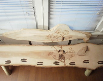 Custom Made One Of A Kind Rough Sawn Illinois Shagbark HICKORY SLAB BENCH With Beautiful Wood Burnt Bear and Tree Scene